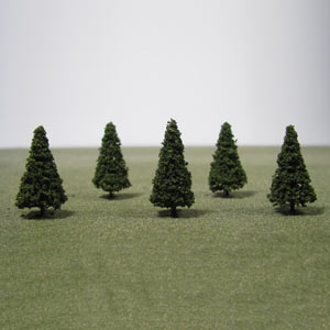 Pack of 5 30mm green Conifer trees