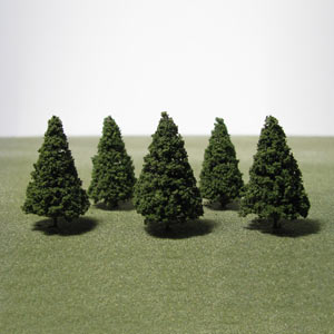 Pack of 5 42mm green Conifer trees
