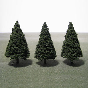 Pack of 3 85mm green Conifer trees