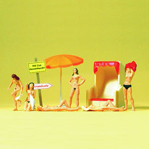 1:87 figures nude bathers with accessories painted Pk6
