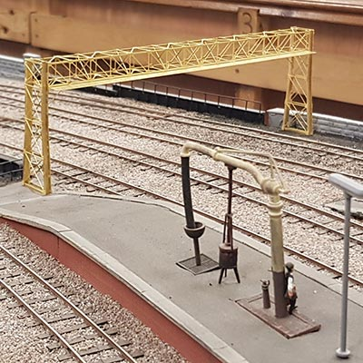 Etched 1930s GWR signal gantries for Andrew Denholm, Cardiff Model Engineering Society