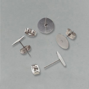 Silver effect flat ear posts