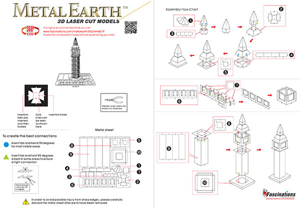 Metal Earth Big Ben assembly instructions