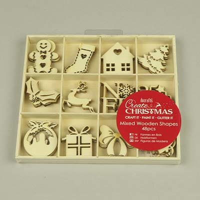Large wooden Christmas shapes