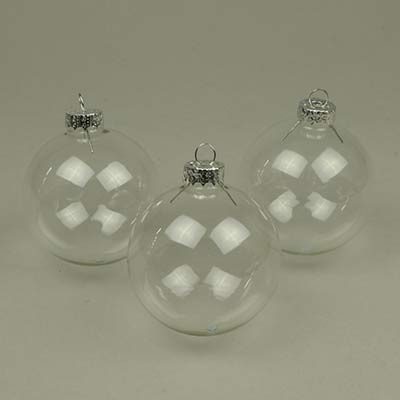 Clear glass baubles for Christmas displays