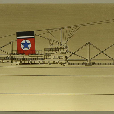 Photo etched brass ship plaque for customer Tim Chapman