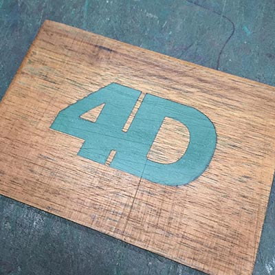 In-filled wooden laser engraving