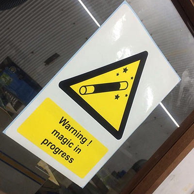 Bespoke vinyl warning sign