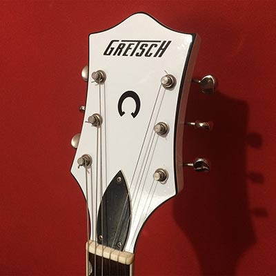 Bespoke vinyl headstock overlay for Gretsch guitar